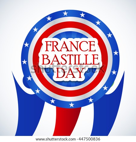 Vector illustration of a background with stylish text for France Bastille Day.