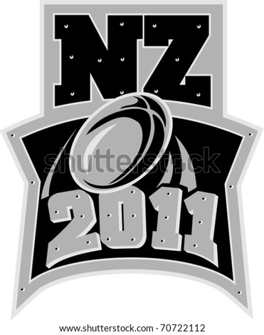 vector illustration of a ball flying with words New Zealand Rugby 2011 - stock vector