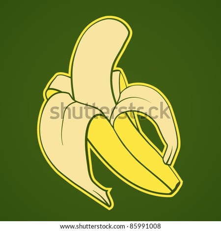vector illustration of a banana - stock vector