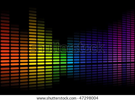 Vector illustration of a bank of spectrum lights - stock vector