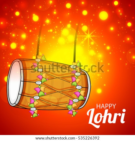 Vector illustration of a Banner For Punjabi Festival Happy Lohri celebration.
