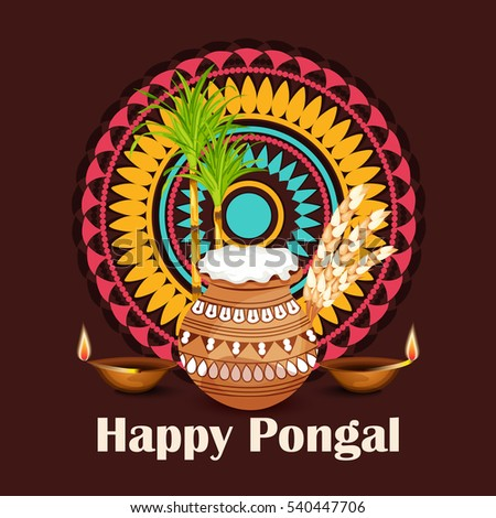 Vector illustration of a Banner For  South Indian harvesting festival Happy Pongal celebration.