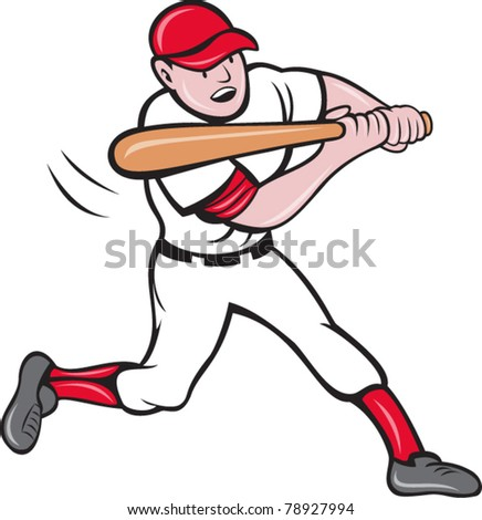 vector illustration of a baseball player batting cartoon style isolated on white