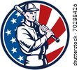 vector illustration of a Baseball player holding bat with american stars and stripes flag in background set inside circle done in retro woodcut style. - stock vector