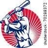 vector illustration of a Baseball player holding bat with sunburst in background set inside circle done in retro woodcut style. - stock vector