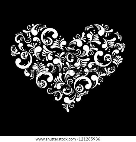 Vector illustration of a beautiful abstract heart isolated on black background - stock vector