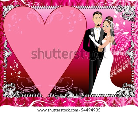 Vector Illustration of a beautiful bride and groom on their wedding day. Wedding Couple 1 with Red, Pink and Silver Background template. - stock vector