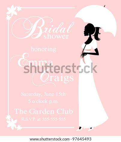 Vector illustration of a beautiful bride holding an umbrella. Bridal shower/wedding invitation template. - stock vector