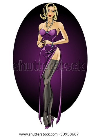 vector illustration of a beautiful debutante....for more pinups, please see my port!! - stock vector