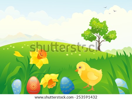 Vector illustration of a beautiful Easter scenery - stock vector