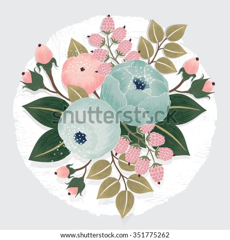 Vector illustration of a beautiful floral bouquet with flowers for wedding invitations and birthday cards - stock vector