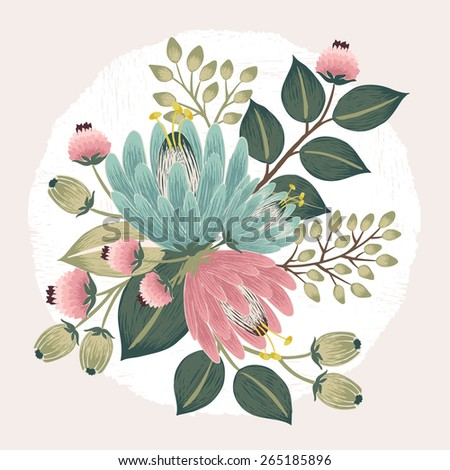 Vector illustration of a beautiful floral bouquet with spring flowers. Beige background - stock vector