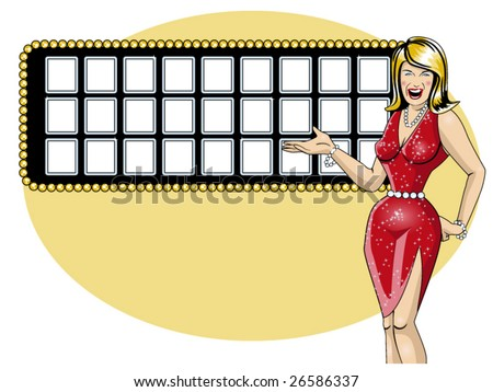 vector illustration of a beautiful game show hostess and a letter board - stock vector