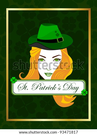 Vector illustration of a beautiful girl wearing a hat on the batch of St. Patrick's Day. - stock vector