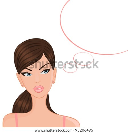 Vector illustration of a beautiful girl with a blank thought/speech bubble isolated on white background.Girl and bubbles are grouped and placed on separate layers.