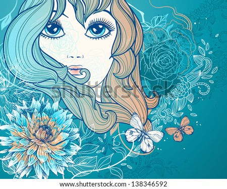 vector illustration of a beautiful girl with blooming flowers and butterflies - stock vector