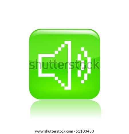 """Vector illustration of a beautiful green icon isolated in a modern style with a reflection effect depicting a web symbol """"audio volume"""" in pixel - stock vector"""