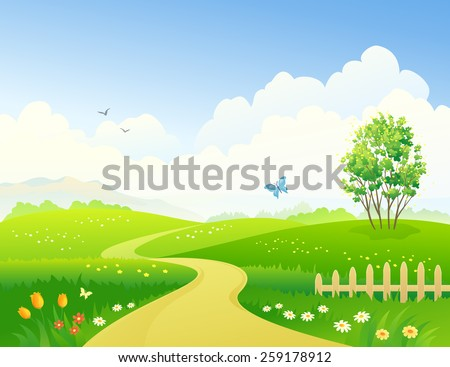 Vector illustration of a beautiful green landscape  - stock vector
