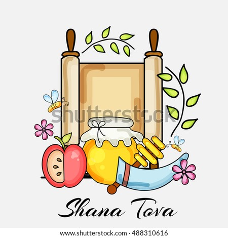 Vector illustration of a Beautiful Greeting card design for Jewish New Year Holiday.