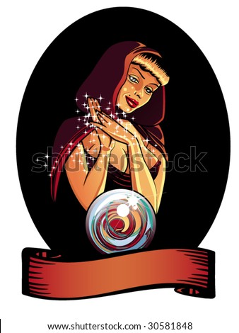 vector illustration of a beautiful gypsy looking into a crystal ball. - stock vector