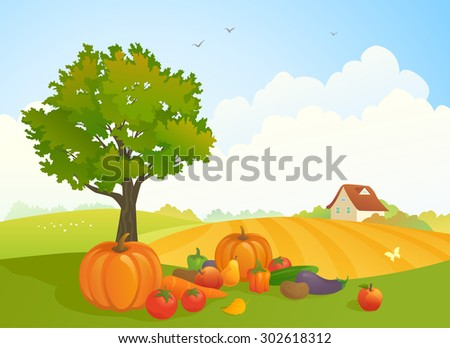 Vector illustration of a beautiful harvest time landscape with fruit and vegetables on the ground at the farm