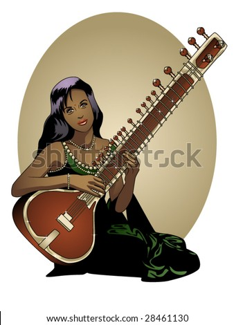 vector illustration of a beautiful Indian woman playing a sitar - stock vector