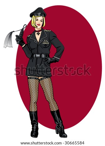 vector illustration of a beautiful pinup model in a WW2 german army uniform - stock vector