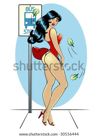 vector illustration of a beautiful pinup model waiting at a bus stop on a breezy day. - stock vector