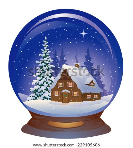 Vector illustration of a beautiful snow globe with a snowy Christmas house, isolated on a white background - stock vector