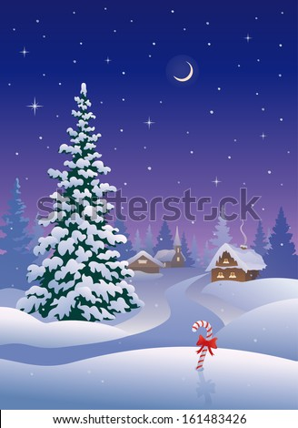 Vector illustration of a beautiful snowy Christmas village and tall snow covered tree, vertical greeting card