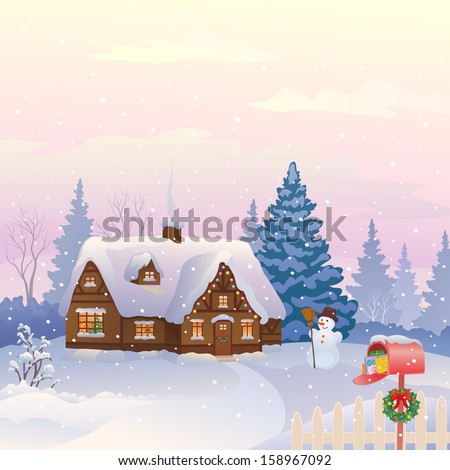 Vector illustration of a beautiful snowy cottage with a full mailbox