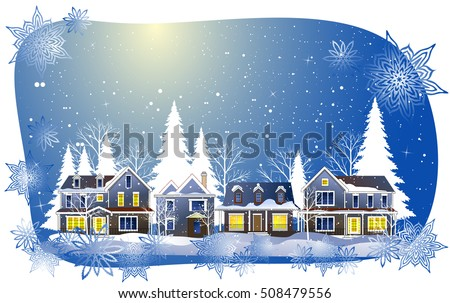 Vector illustration of a beautiful snowy winter village. Christmas greeting card.