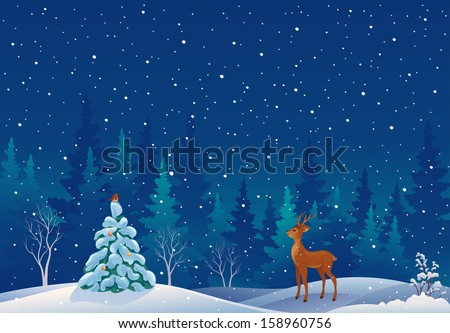 Vector illustration of a beautiful snowy xmas forest scene with a cute young deer - stock vector