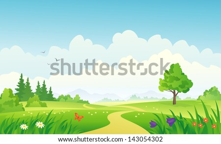 Vector illustration of a beautiful summer landscape - stock vector