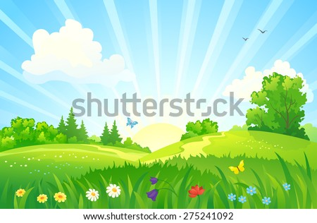 Vector illustration of a beautiful summer sunrise landscape - stock vector