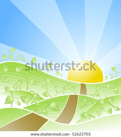 Vector illustration of a beautiful sunny day scenery with floral swirly vines and road leading towards the horizon. - stock vector