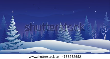 Vector illustration of a beautiful winter night forest - stock vector