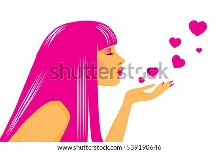 Vector illustration of a beauty girl with kisses