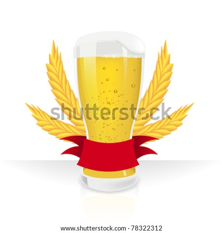 Vector illustration of a Beer glass with label - stock vector