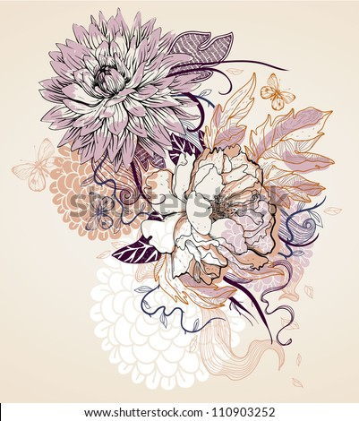 vector illustration of a beige flowers and butterflies - stock vector