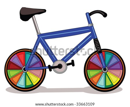 Vector illustration of a  bicycle with colorful wheel.