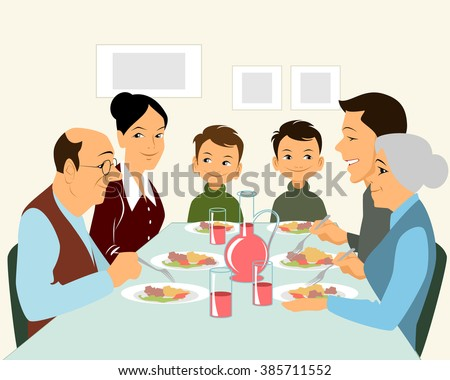Vector illustration of a big family eating - stock vector