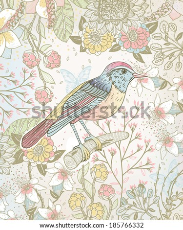 vector illustration of a bird and blooming flowers - stock vector