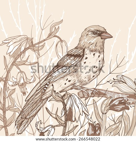 Vector illustration of a bird and wild flowers - stock vector