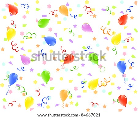 vector illustration of a birthday background with balloons, ribbons and confetti. - stock vector