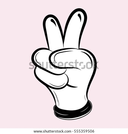 Vector illustration of a black and white cartoon hands. The style of drawing cartoons 80-90s. For web or print.
