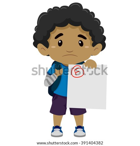 Vector Illustration of a Black Boy showing his Failed Exam - stock vector