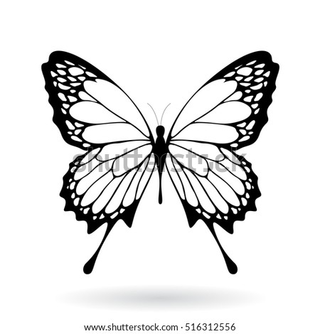 Vector Illustration of a Black Butterfly Silhouettey isolated on a white background