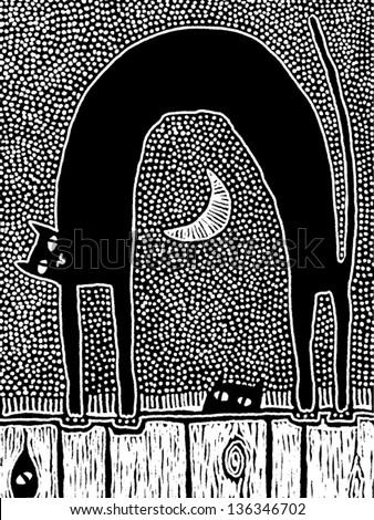 Vector illustration of a black cat - stock vector