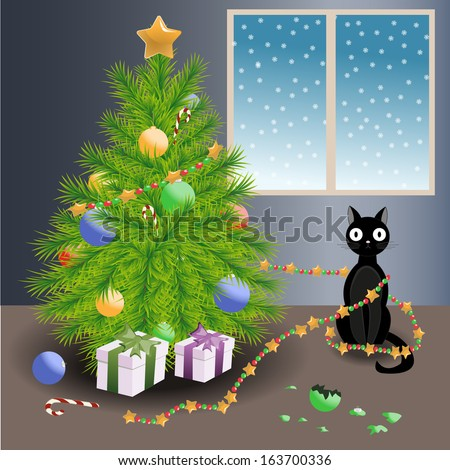 Vector illustration of a black cat who pitched ball and tangled garland on Christmas tree - stock vector